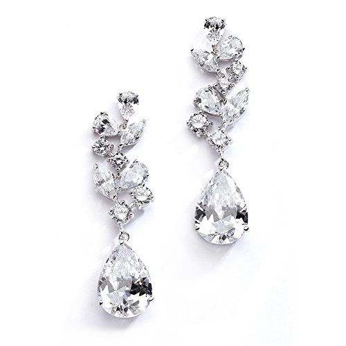 Bride Wedding Earrings (Mariell Mosaic Wedding Bridal CZ Earrings with Pear-Shaped Teardrops - Pageant & Mother of Bride Glam Too)
