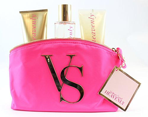 Victoria's Secret Heavenly Gift Set - Angel Touch Body Lotion - Angel Body Mist - Angel Body Wash - Make-up Cosmetic Logo Pink Bag