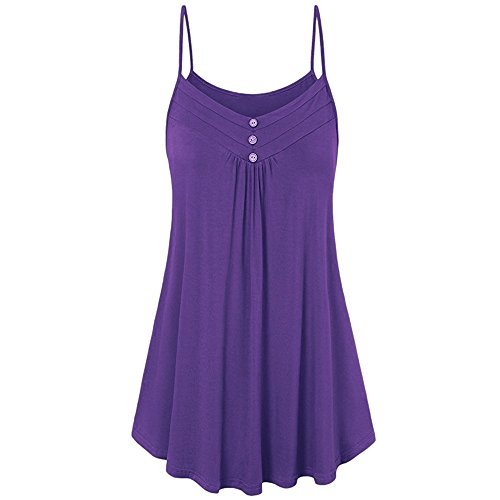 HGWXX7 Women Summer Casual Loose Button V Neck Solid Cami Vest Blouse Tank Tops (XL, Purple)