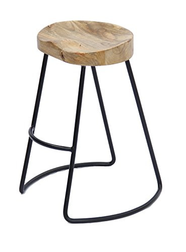 The Urban Port Antique Colonial Classy Wooden Barstool with Iron Legs ()