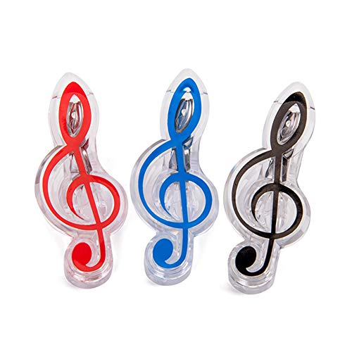(Piano Book Page Clips,hAohAnwuyg Orchestral Instrument,3Pcs Musical Note Plastic Clip Stationery Folder Piano Book Page Holder Clamp - Random Color )