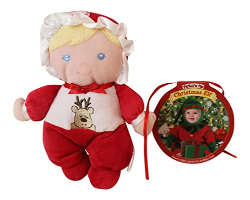 2 Pc Soft Blonde Baby Doll and Baby Christmas Elf Photo Book Bundle Includes: 6