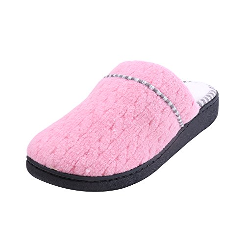 Ruby Slippers Adult Shoe Cover (WILLIAM&KATE WK1610013 Women's Soft Cotton Breathable and Gridding Cozy Sweet Warm Thick Heel House Slipper (36-37/5.5-6B(m) US, Pink))