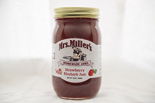 - Mrs Miller's Amish Homemade All Natural Strawberry Rhubarb Jam 18 oz (No Corn Sugar)