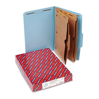 Smead 19081 - Pressboard Folders with Two Pocket Dividers, Legal, Six-Section, Blue, 10/Box-SMD19081 by Smead