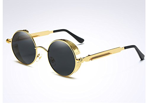 Steampunk mujer Ronda de Vintage TL gold oro Gafas verde gray de las UV400 gafas Sunglasses sol zBCwqf