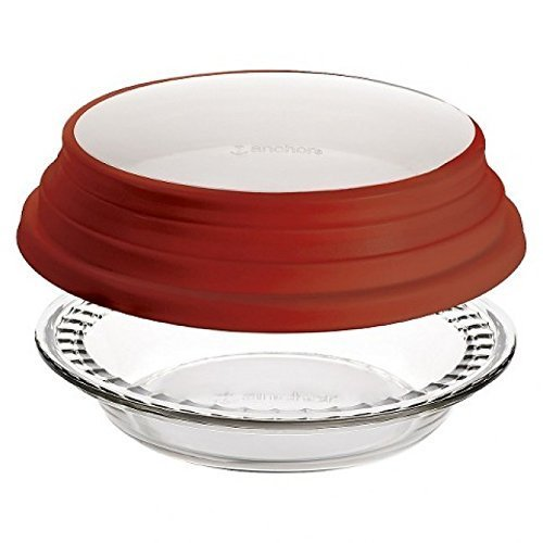 Anchor Hocking Glass 9.5 Inch Deep Pie Plate with Wide Fluted Edge and Red Expandable Cover by Anchor Hocking