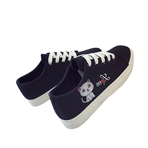 HLHN Women Canvas Shoes, Cat Cross Lace-up Low Top Flat Skate Shoes Sport Running Casual Fashion Black