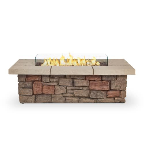 Real Flame C11812LP-BF Sedona Rectangle Propane/Natural Gas Fire Table, Buff by Real Flame