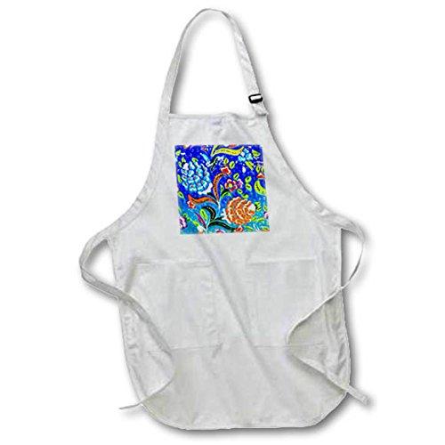 3dRose Danita Delimont - Artwork - Ancient Arab Islamic Blue Orange Flower Design, Madaba, Jordan - Medium Length Apron with Pouch Pockets 22w x 24l (apr_276929_2) by 3dRose