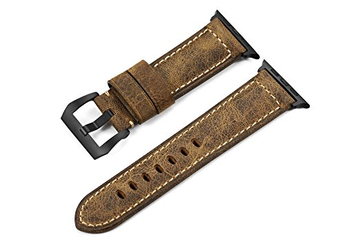 Price comparison product image iStrap 24mm Leather Ammo Strap Black PVD Steel Screw in Tang Buckle Watch Band for Apple Watch 42mm