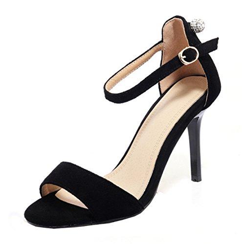 Suede Unie Elegantes Bout Sandales Cheville Bride à Femmes Noir D'été Couleur Moyen Talons pour UH Noeud Aiguilles Ouvert avec Z7wEqC