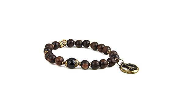 Oxidized Brass Peace Sign Charm and Beads BeachBu Designer Jewelry The Zuma Bracelet in Black Onyx Tiger Ebony Wood with a Tibetan Statement Bead Stretch Cord 7-7.25 inches
