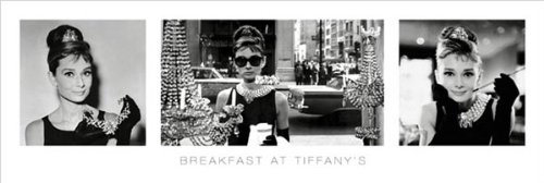 Breakfast at Tiffany's Triptych Classic Movie Poster Print (Audrey Hepburn) 12 by 36 (Breakfast Tiffanys Movie Poster)