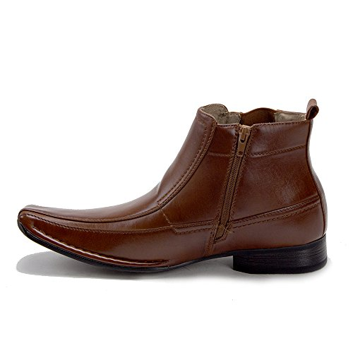 Dress Boots 76631 Lined Men's High New Chelsea Cognac Ankle Leather TqRFfwB0