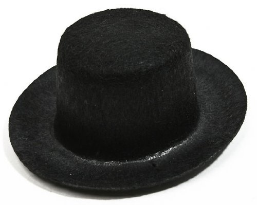 Package of 6 Mini Black Felt Top Hats 3 3/8