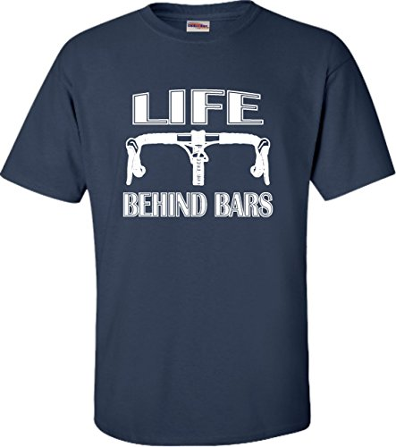 - Go All Out Small Navy Blue Adult Life Behind Bars Funny Bike Bicycle Funny T-Shirt