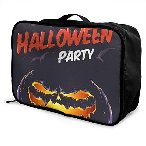 Skrencai Packing Cubes Halloween Travel Luggage Bag Receive Storage Organizer Large Portable Set with Handle -
