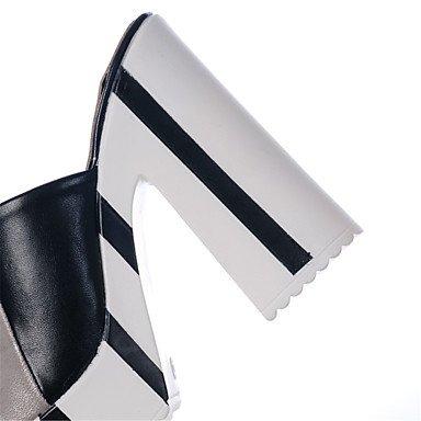LvYuan Mujer-Tacón Robusto-Talón Descubierto Zapatos del club-Sandalias-Vestido Informal-Semicuero-Azul Plata Oro Silver