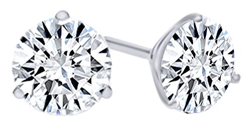 Round Shape White Natural Diamond Martini Style Stud Earrings In 14K Solid White Gold (0.25 Ct)