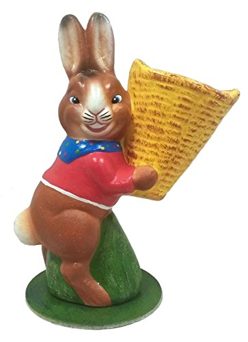 Pinnacle Peak Trading Company Ino Schaller Easter Bunny Rabbit Holding Yellow Basket German Paper -