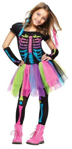 Girls Funky Bones Costume Tween Girls Neon Skeleton Halloween Costume LARGE 12-14