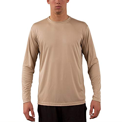 Vapor Apparel Men's UPF 50+ UV Sun Protection Performance Long Sleeve T-Shirt Large Tan