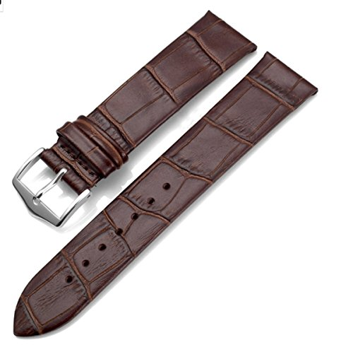 18mm Replacement Silver Buckle Genuine Calfskin Leather Watch Strap/Watch Band (Brown)