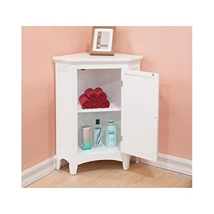 White Corner Floor Storage Cabinet With Shutter Door Bathroom Bedroom