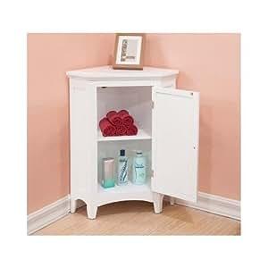Color blanco piso almacenamiento armario de esquina con for Armarios bano amazon