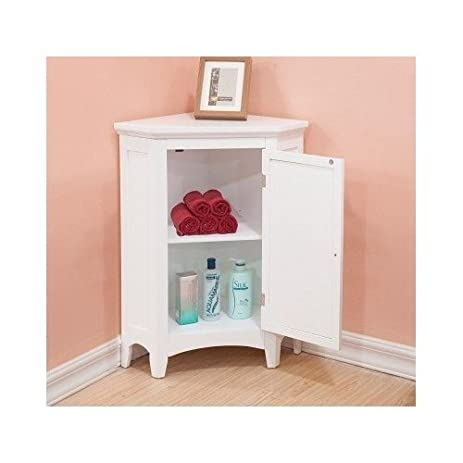 Amazon.com: White Corner Floor Storage Cabinet with Shutter Door ...
