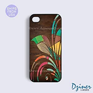 iPhone 5c Tough Case - Colorful Wood Flower iPhone Cover (NOT REAL WOOD)