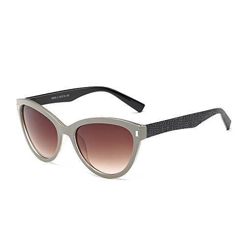 Beige Frame, Cat-eye Sunglasses with Tawny Lens & Shiny Black Arms - Ray Cats Bans