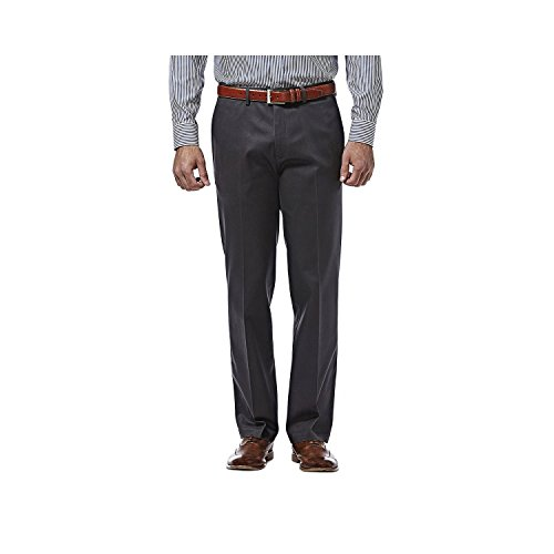 Haggar Premium No Iron Khaki Stretch Straight Fit Flat Front Pant Dark Gray 32x34