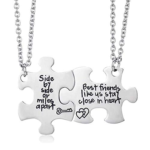ALoveSoul Best Friend Necklaces - Side by Side Or Miles Apart Best Friends Likes Us Stay Close in Heart, Pizza Necklace BFF Gifts Friendship Necklace