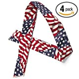 MiraCool Summer Heat Relief Cooling Neck Bandana Accessorie, Pack of 4 USA American Flag Bandanas - Reusable