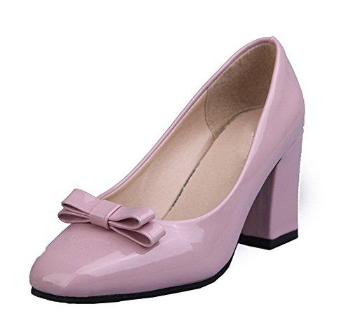 Tiro Femminile Tacchi Chiuso Weipoot Toe Solido calzature Pu Rosa Rotondo Su Pompe OrndOtZqx6