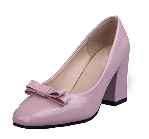 AllhqFashion Womens PU Pull-On Closed-Toe High-Heels Solid Pumps-Shoes Pink SJ0eevmsxL