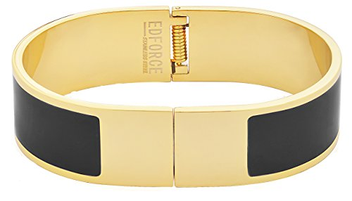 Edforce Stainless Steel Women's 18k Gold Plated Bangle Open Ended Bracelet Buckle ColoRed Enamel Clasp Stackable (Black) Black Enamel Buckle
