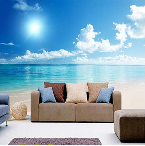 - 3D Stickers Wallpaper Murals Wall Decorations Natural Southeast Asia Seascape Sunny Beach Water Suitable Use in Living Room Study Decoration Art Girls Bedroom (W)140X(H)100Cm