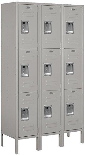 (Salsbury Industries 63352GY-U Triple Tier 36-Inch Wide 5-Feet High 12-Inch Deep Unassembled Standard Metal Locker, Gray)