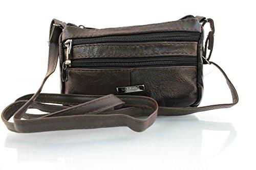 Body New Satchel Dark 3772 Compact Real black Bag Lorenz Leather Genuine Brown Cross Women Ladies xv1xUO