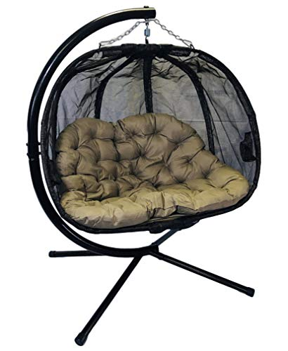 Flower House FHPC100-BRK Hanging Pumpkin Loveseat Chair with Stand (Espresso)