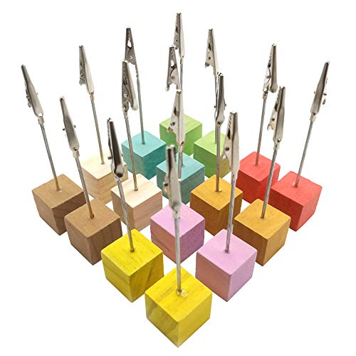 16 Pcs Table Number Place Card Holder Table Wood Holder Table Card Holder Table Number Stands with Heart Shap Photo Memo Clips for Wedding Favors