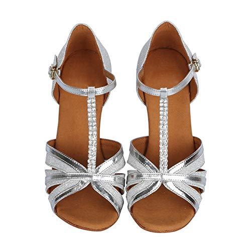 Las De Con Para Modelo Mujeres Rhinestone Cuero Salón af412 Baile Latino zapatos Plateado Hroyl Zapatos YC8wq5Yt