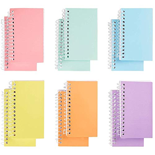 (Paper Junkie 12-Pack Mini Spiral Notebooks, College Ruled Wirebound Notepads, Pastel Colors, 3 x 5)