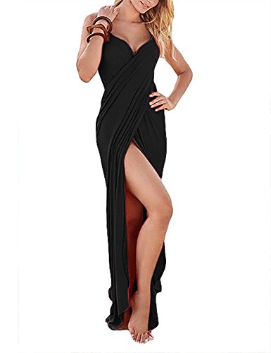 YouBens Women Summer V-Neck Maxi Backless Beach Dress Sexy Bikini Long Skirt