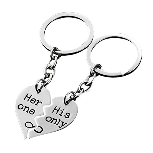 Heart Matching Keychain 2 Pcs,Crytech Personalized Engraved Her One His Only Couple Key Chain Ring Set Broken Heart Keyring for Him & Her Husband Wife Boyfriend Girlfriend (Silver)