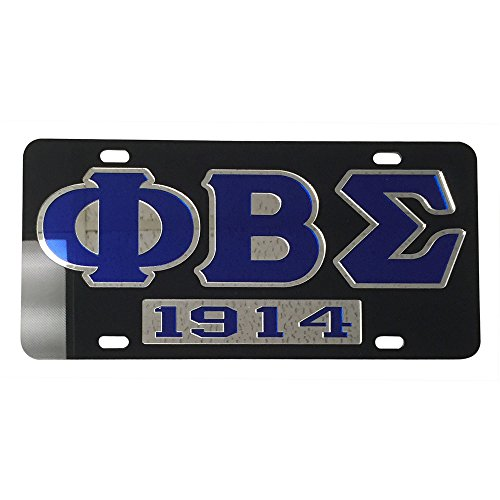 Phi Beta Sigma License Plate Car Tag - Black Back, Letter Outlined, Year (#7309)