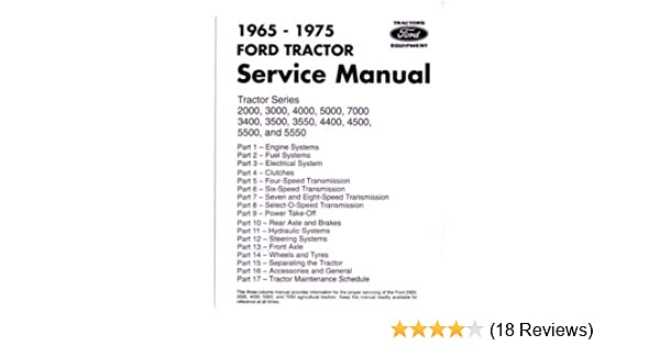 Amazon 1965 1975 Ford Tractor 2000 7000 Service Manual Book